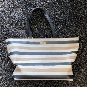 Kate Spade Tote Bag - Black and Tan stripes